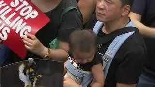 香港6.16黑衣大游行 父子齐上阵