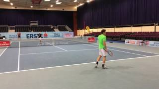 Andy Murray Pre-Game Practice (John Isner) with Coach Jamie Delgado - Vienna 2016 - 4K