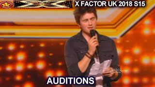 Brendan Murray Unique Voice Gets 2nd Chance Uses Lyrics Sheet 4YES AUDITIONS week 1 X Factor UK 2018