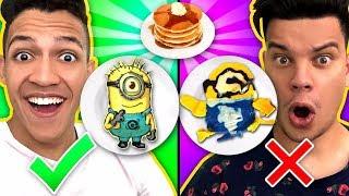 DESAFIO ARTE NA PANQUECA 2!!! Aprenda Como fazer Minion Homem Aranha Spinner & Emoji DIY Panqueca!