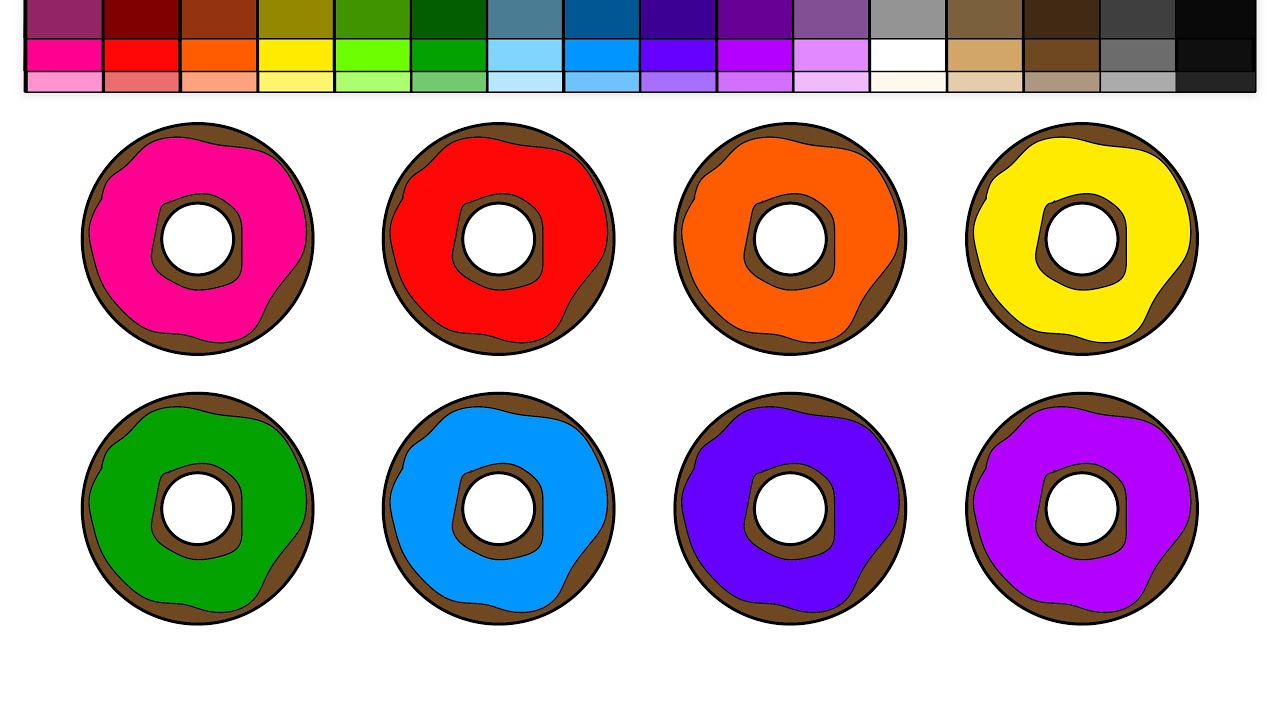 learn colors for kids and color chocolate donuts color rainbow
