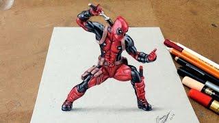 Drawing  Deadpool 3D | Desenhando o Deadpool Com Efeito 3D