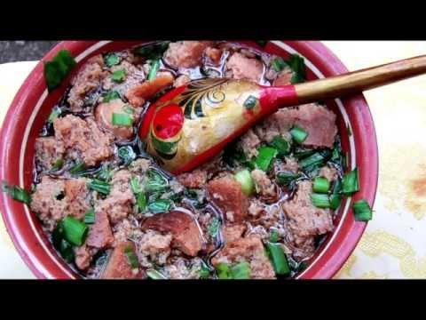 Русский рецепт - тюря с луком - холодный суп