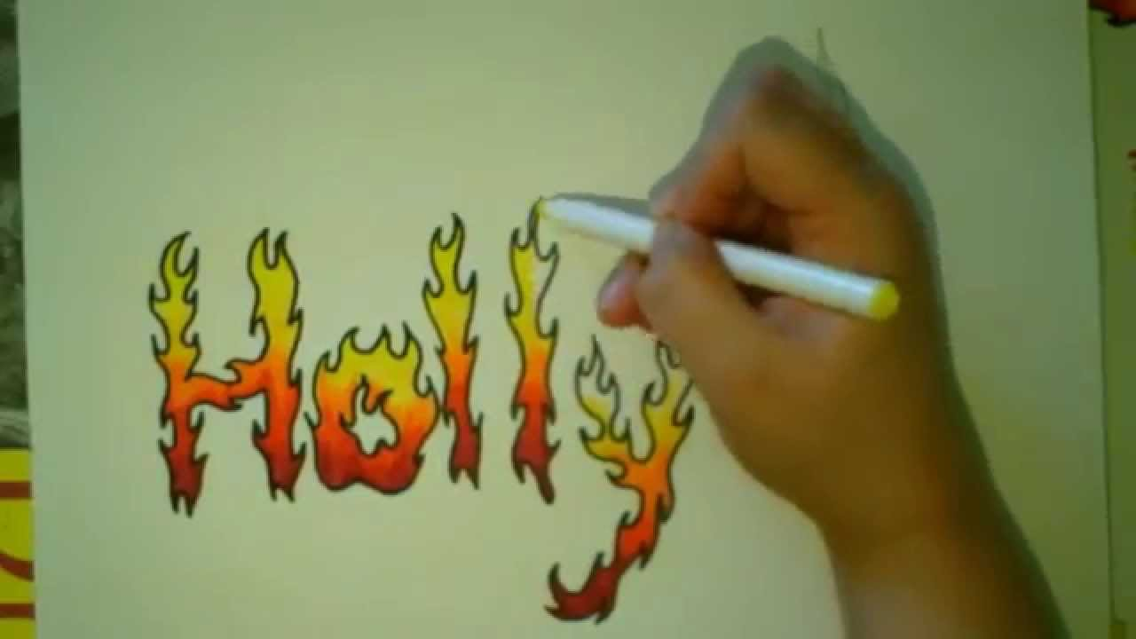 Font On Fire Flame Lettering Tutorial  Youtube