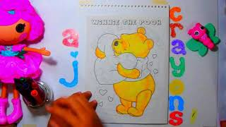 Winnie the Pooh hugs a heart shaped pillow - Coloring for Kids using Crayons