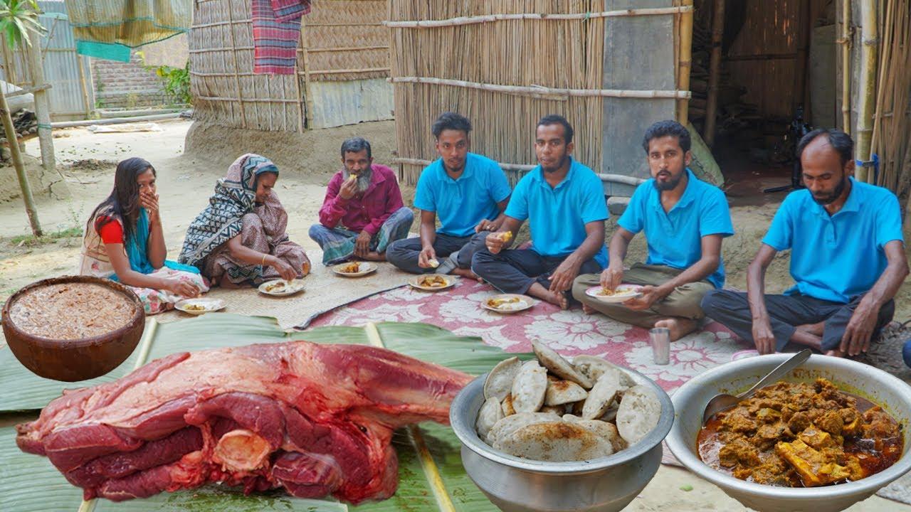 গরুর গোস্ত সরা পিঠার সাথে নদীর পিয়ালী মাছের চড়চড়ি এবংদই - Beef Kosha, Chitoi Pitha & River Fish