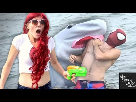 SPIDER-MAN vs SHARK with MARY JANE - Real Life Superhero Battle - TheSeanWardShow