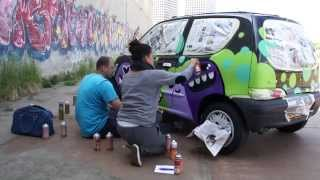Mural Painters, Ox Alien and Doodkonijn, painted my car! 10 juni 2015