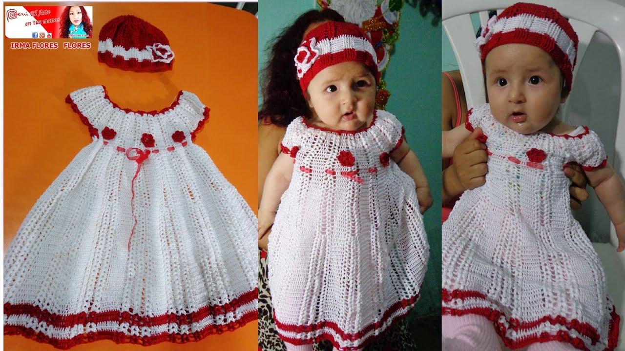 Vestido Blanco Para Bebe Tejido A Crohet Paso A Paso