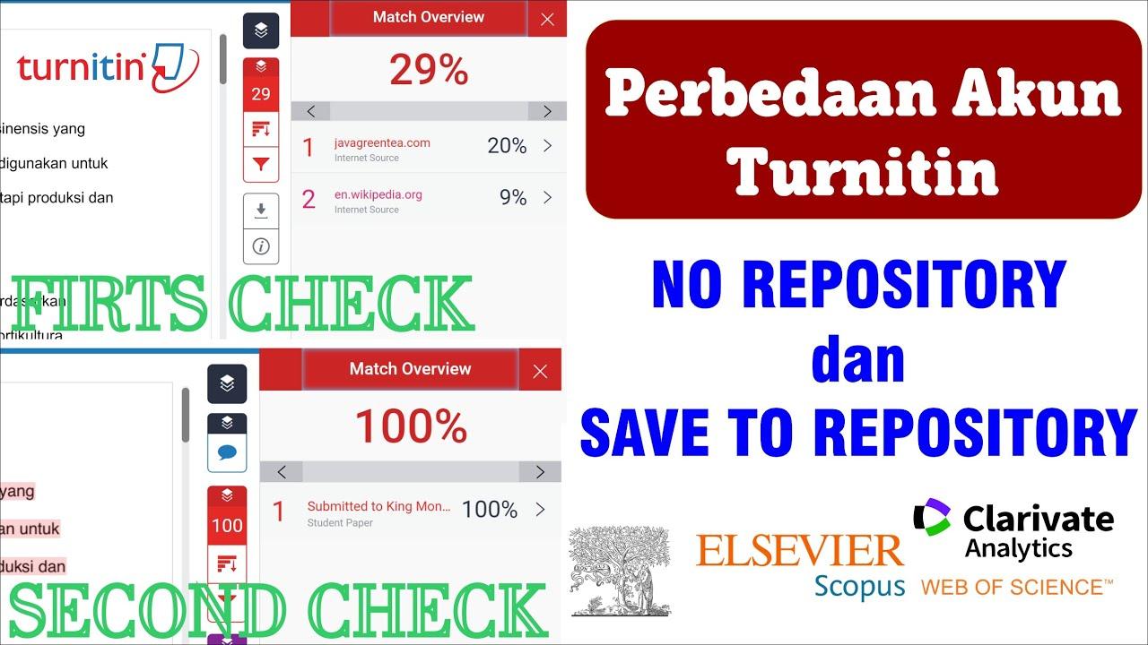 Perbedaan Akun Turnitin SAVE TO REPOSITORY dengan NO REPOSITORY