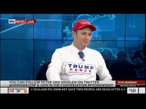 Peter van Onselen wears Donald Trump shirt after losing bet
