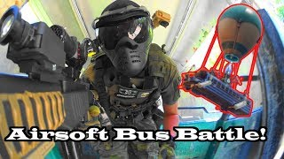 Airsoft Bus Battle! - Paint Ball Explosion Bomb Defense!
