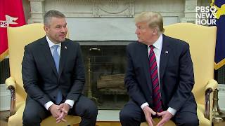 President donald trump met friday with the prime minister of slovakia. peter pellegrini is latest central european leader to visit whi...