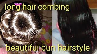 Long hair combing detangle and beautiful bun hairstyle