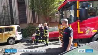 Strasbourg : incendie spectaculaire d'un bus en centre-ville, sept personnes incommodées