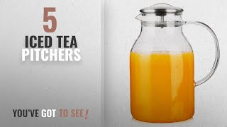 Top 10 Iced Tea Pitchers [2018]: Hiware 68 Ounces Glass Pitcher with Lid and Spout - High Heat