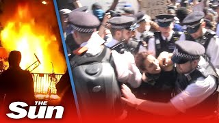 Scuffles break out in London and violence erupts in USA as George Floyd protests go worldwide