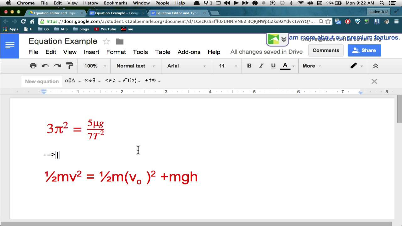 How to use the Google Docs Equation Editor