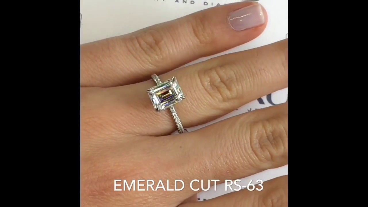 9x7mm emerald cut moissanite engagement ring youtube