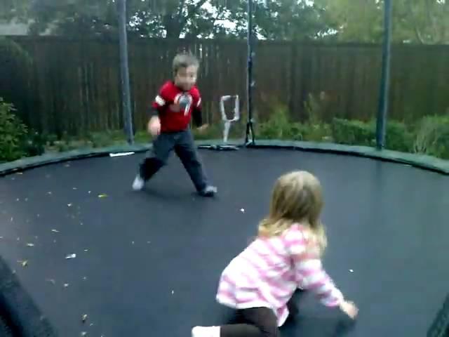 Zade and Jena on trampoline