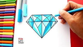 Cómo dibujar un Diamante de manera correcta y fácil | How to draw a Diamond
