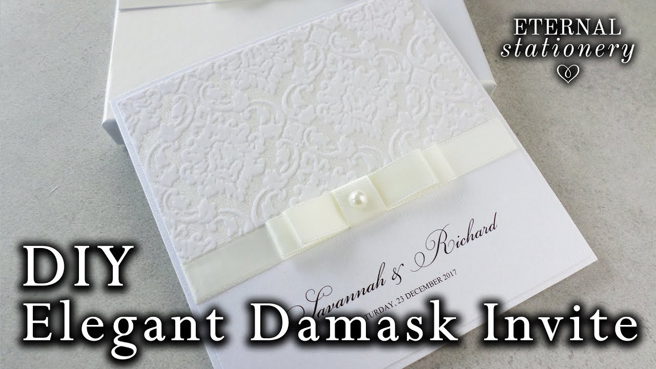 Simple and elegant damask invitation tutorial DIY Wedding