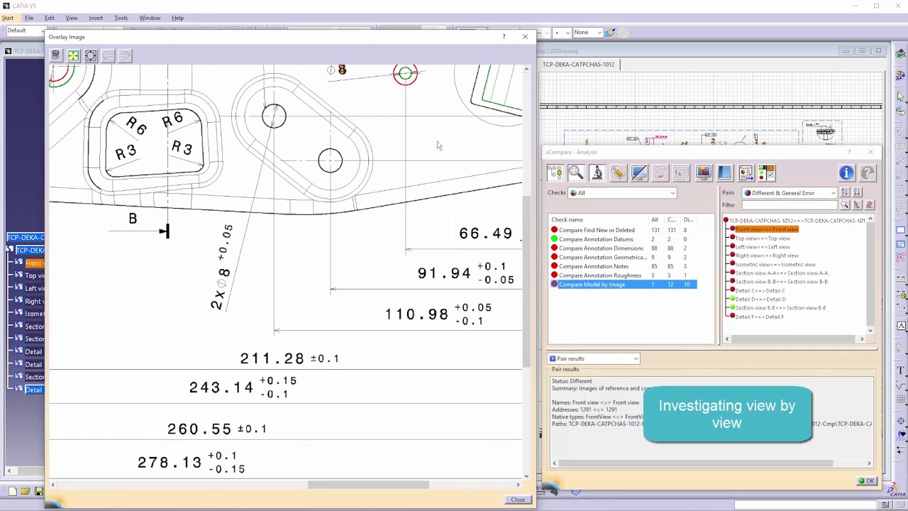 xCompare V5/V5 - Easy comparison of two CATIA V5 drawings