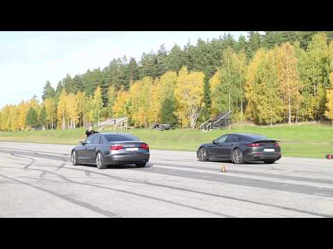 Audi S8 Plus vs Porsche Panamera Turbo GTBOARD.com October 2017 Event sponsored by Schmiedmann