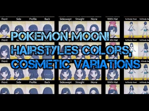 pokemon sun moon all trainer hairstyles cosmetic variations