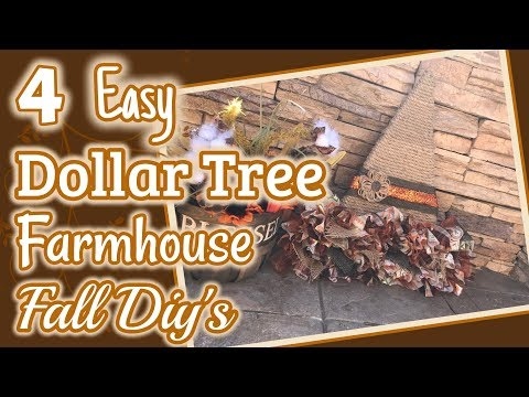 4 EASY DOLLAR TREE FARMHOUSE Fall DIY's | DIY Dollar Tree Fall Decor