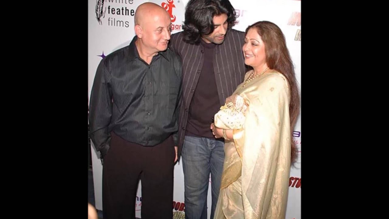 actor anupam kher and kiron kher with his son youtube