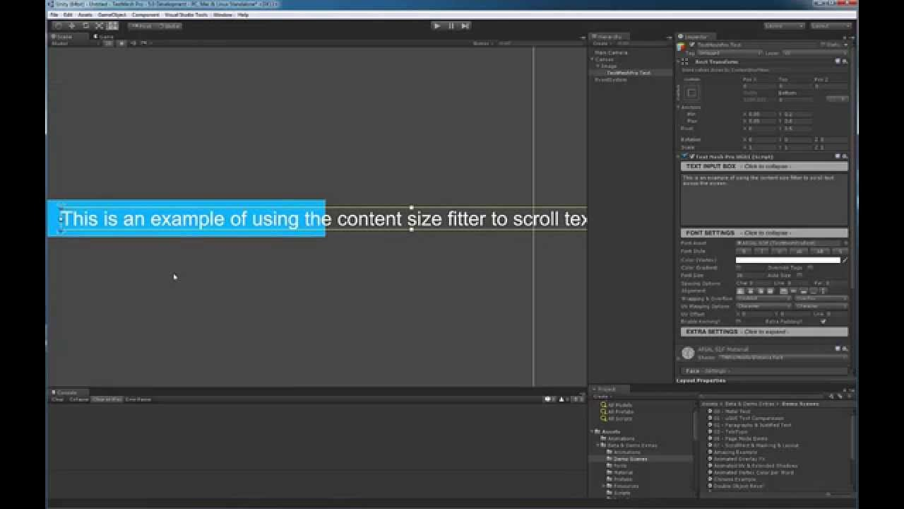 TextMesh Pro - Horizontal Scrolling of Text in Unity 4 6 and 5 0