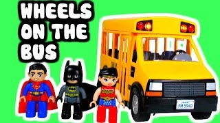 WHEELS ON THE BUS Kid Song (Parody) with Batman, Superman & Wonder Woman + Paw Patrol & Peppa Pig