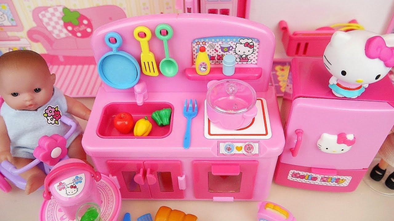 0c895c216 Hello kitty kitchen and baby doll food cooking toys play - YouTube