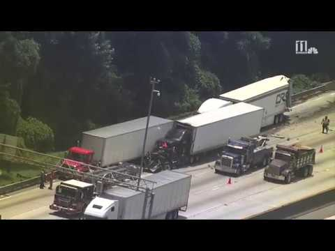 AERIAL FOOTAGE: Semi-trucks involved in fatal crash at I-285/Camp Creek