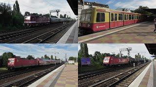 Berlin-Pankow mit 243 650+Rekowagen, Br 112, Br 143, Br 185+Güterzug, S-Bahn Br 480, 481 und 485