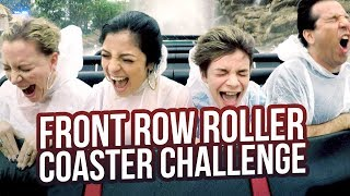 INSANE FRONT ROW ROLLER COASTER CHALLENGE!!! BABY ARIEL