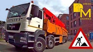 GIANT CONCRETE PUMP PUTZMEISTER MAN TRUCK ► FOLDING BOOM LEAVING CONSTRUCTION SITE