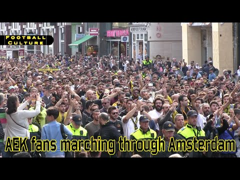AEK-fans marching through Amsterdam