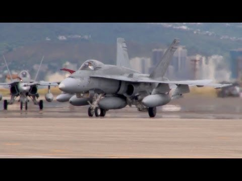 Canadian CF-18 Hornet Fighter Jets Landing