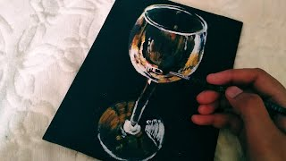 How to draw 3D effect wine glass, easy,  acrylic  painting,