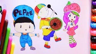 Pepee Çilek Kız Caillou Boyama Sayfası