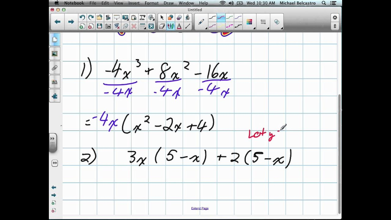 Common Factoring Polynomials Grade 11 mixed Lesson 2 2 9:26:12 - YouTube