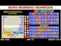 Keno Winning Numbers
