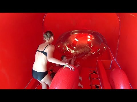 Red Water Slide at AquaMagis