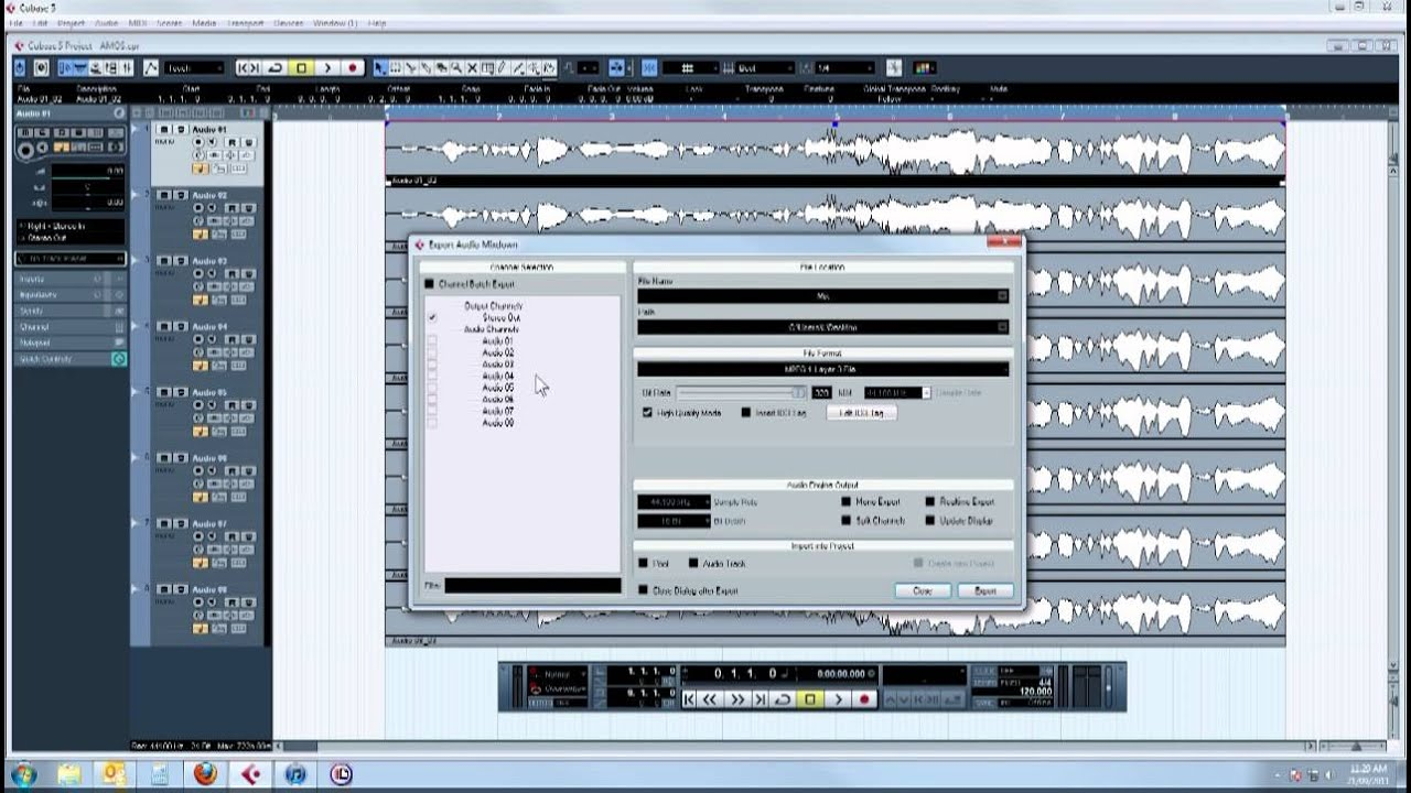 cubase audio mixdown