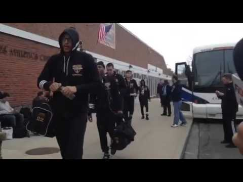 The Iona men's basketball team on their way to the busses to start the trip to Denver.