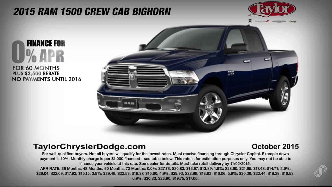 Taylor Chrysler Dodge Jeep Ram October Offers SPS