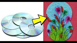 DIY Best Out of Waste Wall Hanging from old CD & Tissue Papers! Recycled Craft Idea | Reuse Old CD