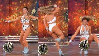 Adabel Guerrero se dio un porrazo al hacer un paso de baile a pedido de Moria Casán